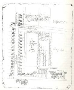 The reproduced drawing belonging to the transportdeed of April 22nd, 1634 (Community archive in Naaldwijk)