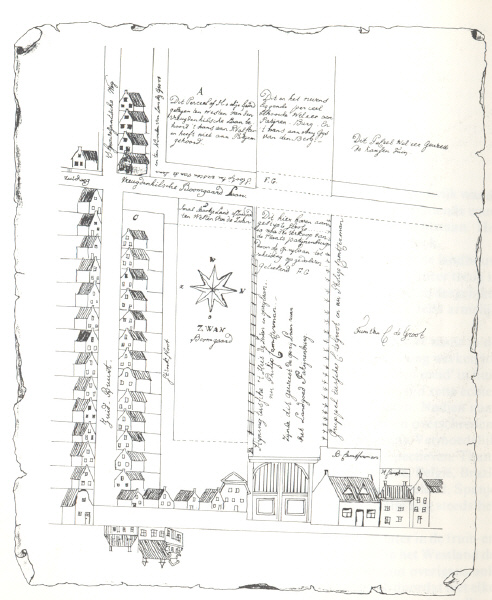 The reproduced drawing belonging to the transportdeed of April 22nd, 1634 (Community-archive of Naaldwijk)